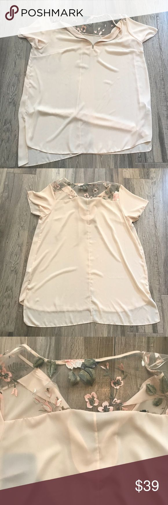 New Look Beige Floral Chiffon Blouse Like new no rips stains or tears. Half zippered front. Looks great with jeans and heels or with boots and leggings New Look Tops Blouses