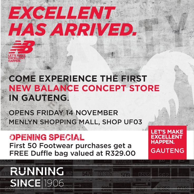 New Balance South Africa Opening at Menlyn on Friday. Whoo lets start the countdown.   3 Days to Go