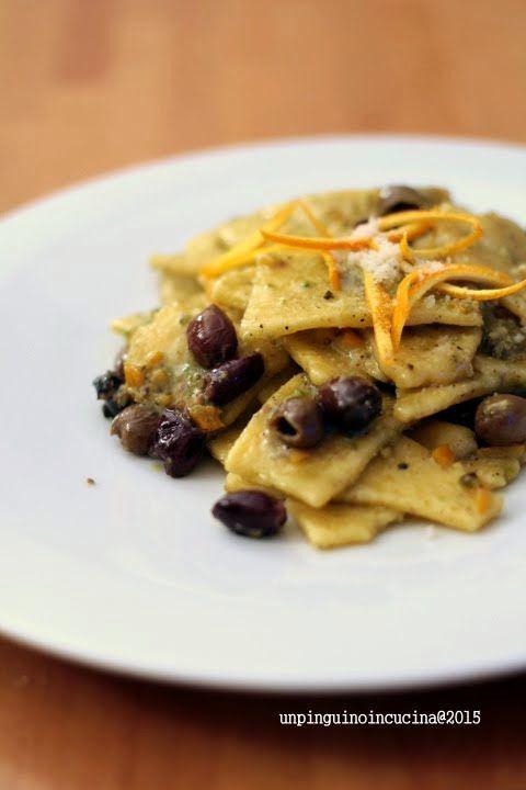 Cornmeal Pasta with Pistachio Nut Pesto, Olives and Orange Zest - Maltagliati al mais con pesto di pistacchi, olive taggiasche e scorza di arancia