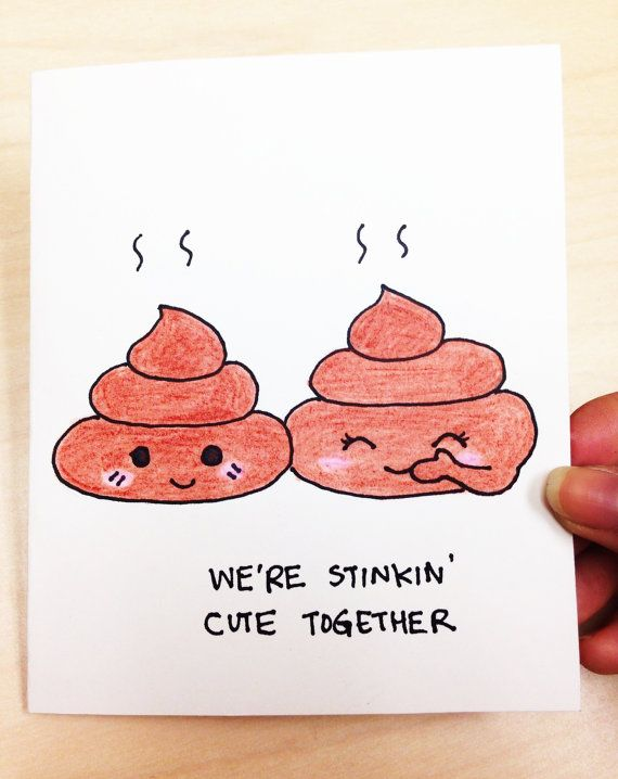 We're stinkin' cute together cute and funny anniversary love card for boyfriend, girlfriend, husband and wife, funny love card, poop pun, poop joke, quirky love card by LoveNCreativity