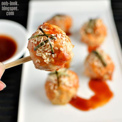 Ooh, Look...: Japanese chicken meatballs with cat-attractant nori