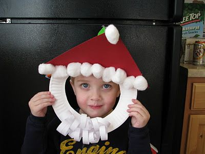 Santa Claus mask craft - paper plate, cotton balls, paper (Mommy's Little Helper)