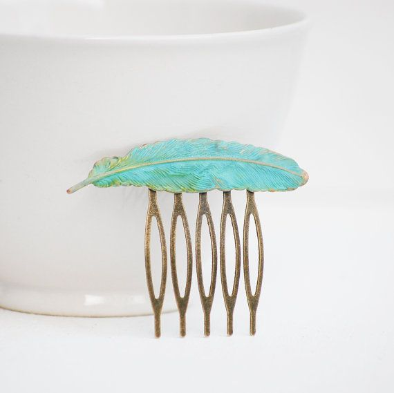 Little FEATHER Hair Comb Verdigris Patina by redtruckdesigns