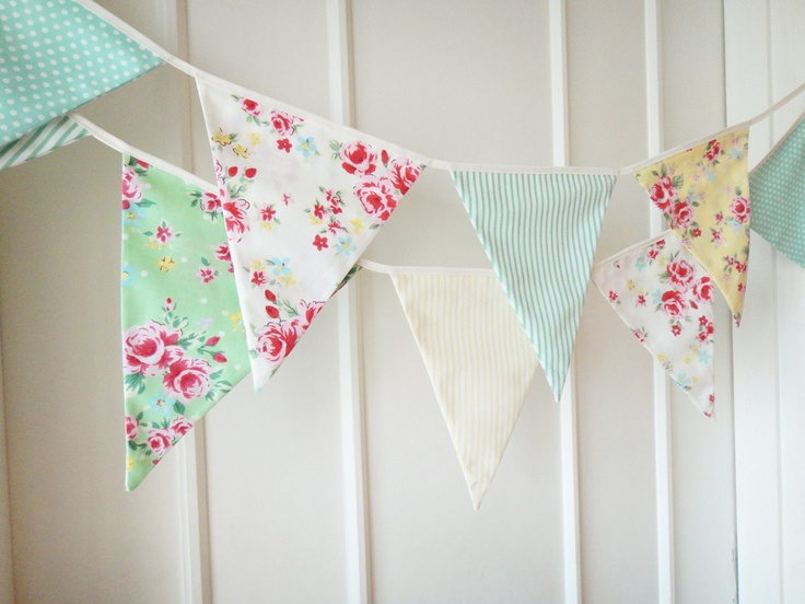 Spring Time Bunting, Fabric Banners, Wedding Bunting, Floral, Roses, Polka Dots, Pastel Yellow and Green Shade - 3 yards  (Last one). $27.00, via Etsy.
