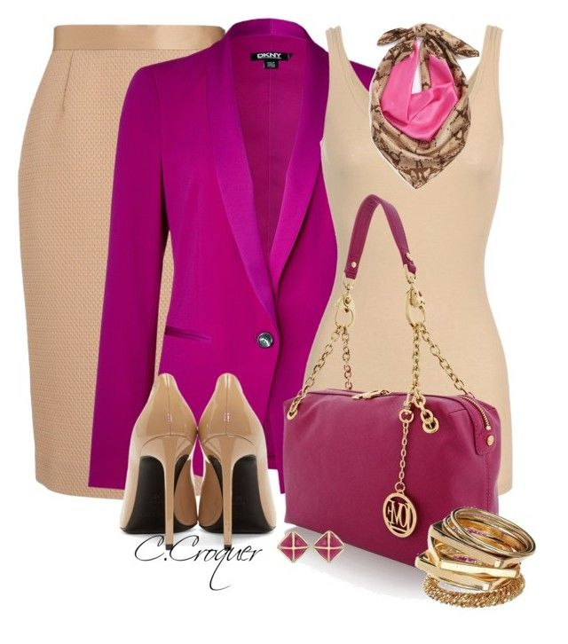 Magenta & Nude by ccroquer on Polyvore featuring iHeart, DKNY, Giles, Yves Saint Laurent, Love Moschino, Miss Selfridge, Kendra Scott and Echo