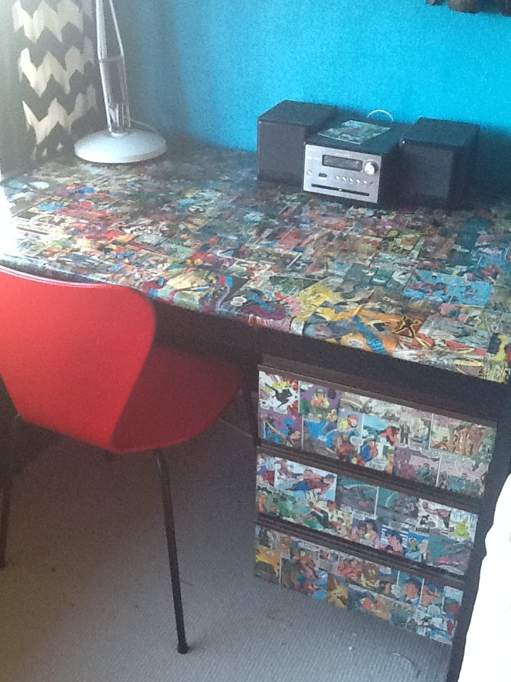 Cartoon Decoupage Old Desk Made Fabulous For A Comic Book Room