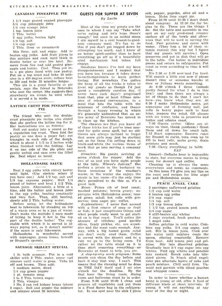 Kitchen Klatter Magazine, August 1949 - Canadian Pineapple Pie, Lattice Pie Crust, Hollandaise Sause, Sausage Skillet Special, Peach Angel Cake, Guests at Seven