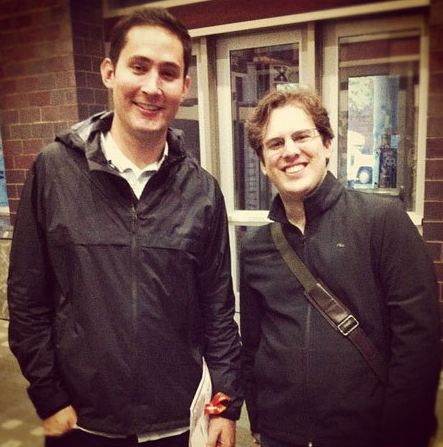 Developers of Instagram app Mike Krieger and Kevin Systrom seem so happy.