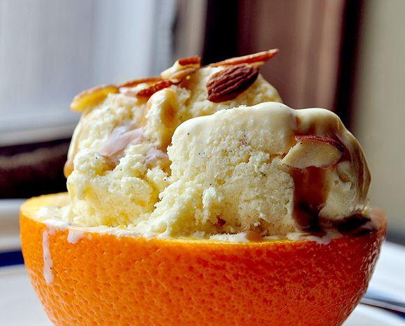 Orangesicle Ice Cream & Roasted Bananas w/ Rum Caramel Sauce