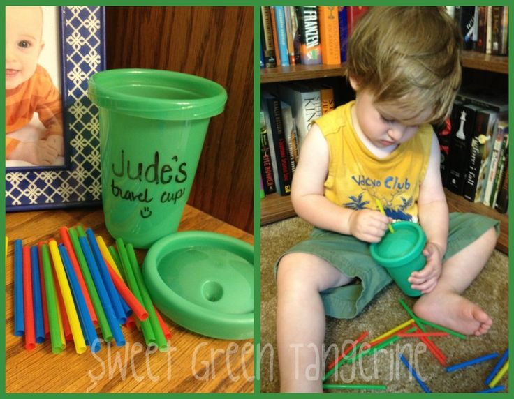 Toddler busy cup for travel/restaurants/waiting rooms.