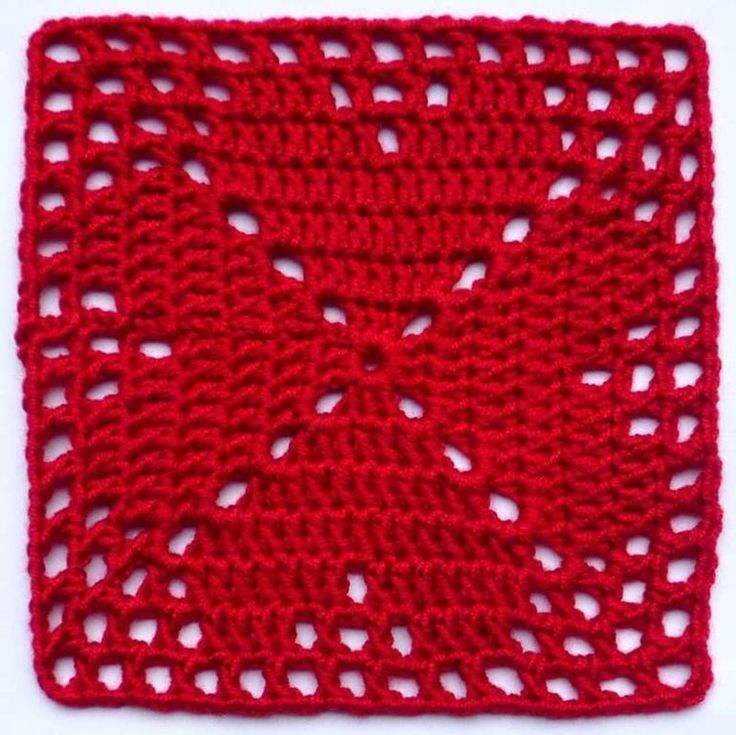 """Square em crochê, motivo """"trevo de quatro folhas"""""""