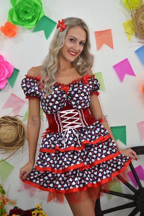 Vestido Coração Azul/Vemelho - Caipira Chic - comprar online