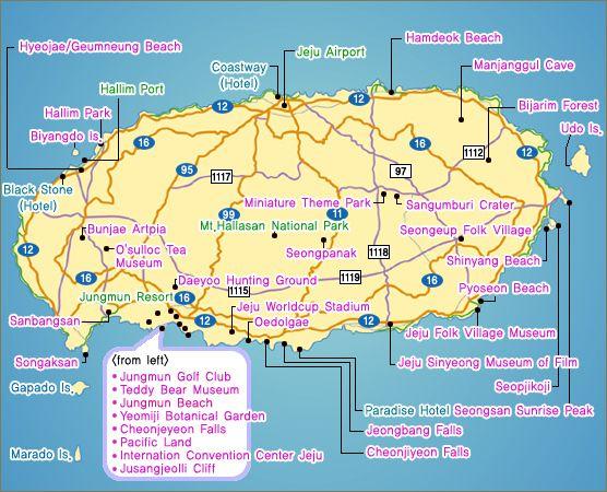 map of Jeju island, jeju island sightseeing map, what to do in jeju island
