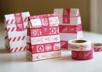 Make bags from envelopes and pretty tape   How About OrangeGift Bags, Little Gift, Paper Bags, Giftbags, Diy Gift, Parties Favors, Favors Bags, Masks Tape, Washi Tape