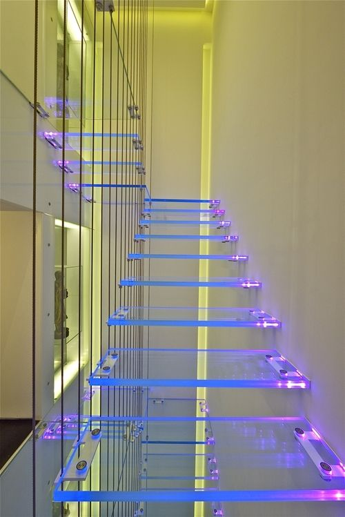 Futuristic Home, Illuminated lucite stairs, Future Home, Futuristic Interior