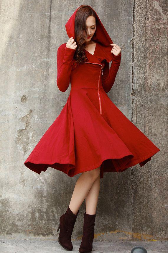 Wine Red Cotton Fleece Coat / Cotton Hoodie Dress Coat / Fleece Hooded Dress…