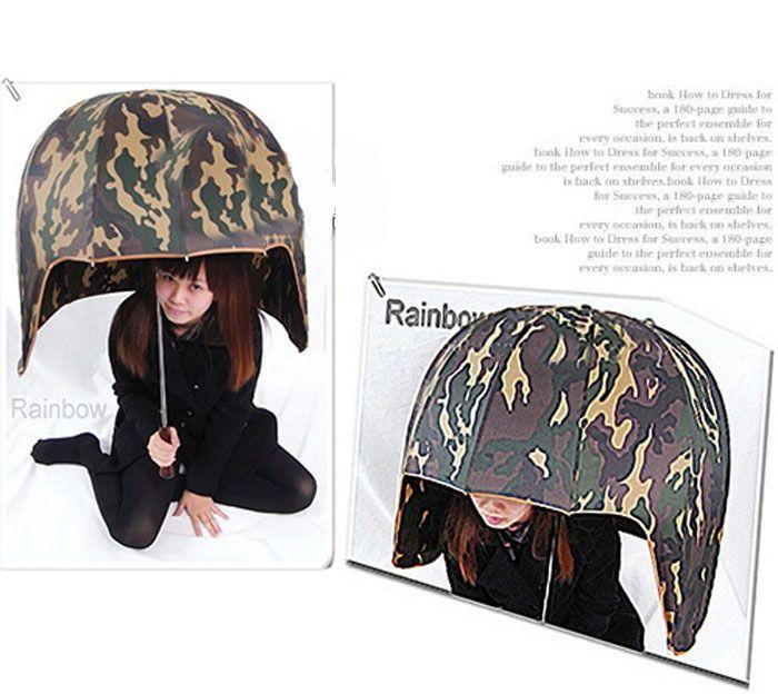 Защитный зонт в форме шлема камуфлированный камуфляж с защитой от дождя и ветра закрывает голову как шапка самый необычный оригинальный интересный лучший надежный охранный зонт креативный