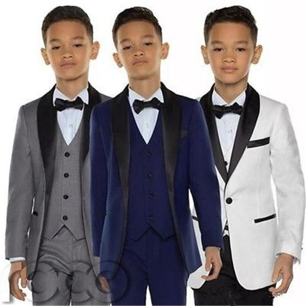Bespoke Formal Boys Suits Jacket+Pants+Vest 3 Pieces Students Graduation Tuxedos