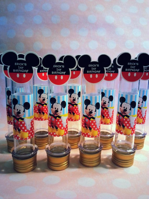10 candy Tubes, Clear Plastic Tubes, mickey, minnie, minions, peppa pig, frozen, Birthday Supplies, Plastic Candy tubes