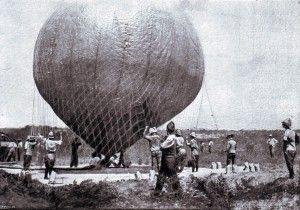 Launching the balloon during the Battle of Magersfontein on 11th December 1899