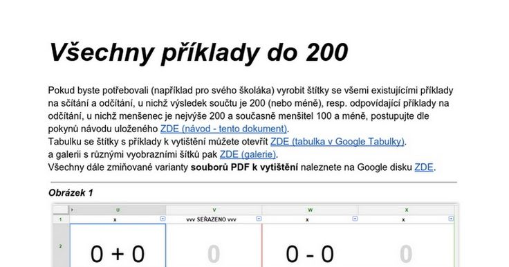 Všechny příklady do 200  Pokud byste potřebovali (například pro svého školáka) vyrobit štítky se všemi existujícími příklady na sčítání a odčítání, u nichž výsledek součtu je 200 (nebo méně), resp. odpovídající příklady na odčítání, u nichž menšenec je nejvýše 200 a současně menšitel 100 a méně, ...