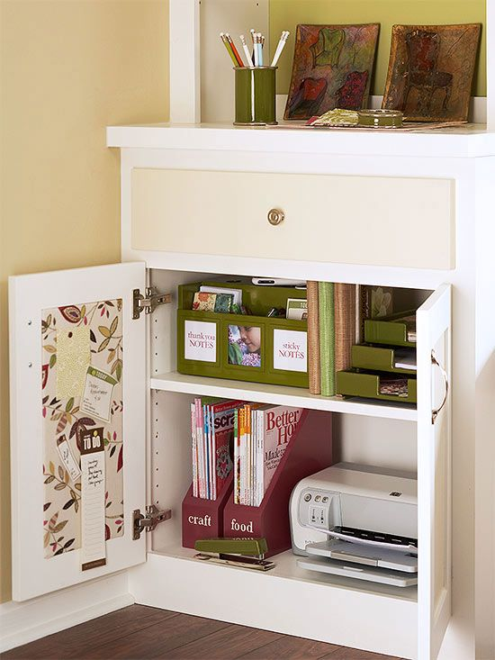 Organize small entertaining extras, like tea lights and napkin rings, in a storage caddy designed for tea cups.     •15-Minute Fixes: Dining Rooms  The Extra Clutter If your dining room doubles as an office or homework station, wrangle desk supplies into organizers and stash them in a cabinet.