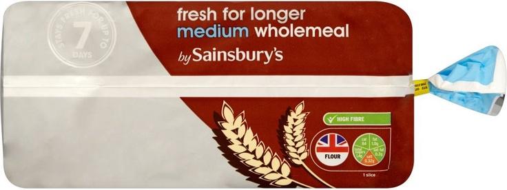 Sainsbury's Fresher for Longer Medium Sliced Wholemeal Bread (800g)