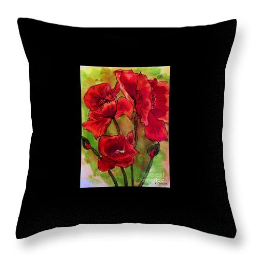 Poppy Glory Throw Pillow featuring the painting Poppy Glory by Angela Gannicott