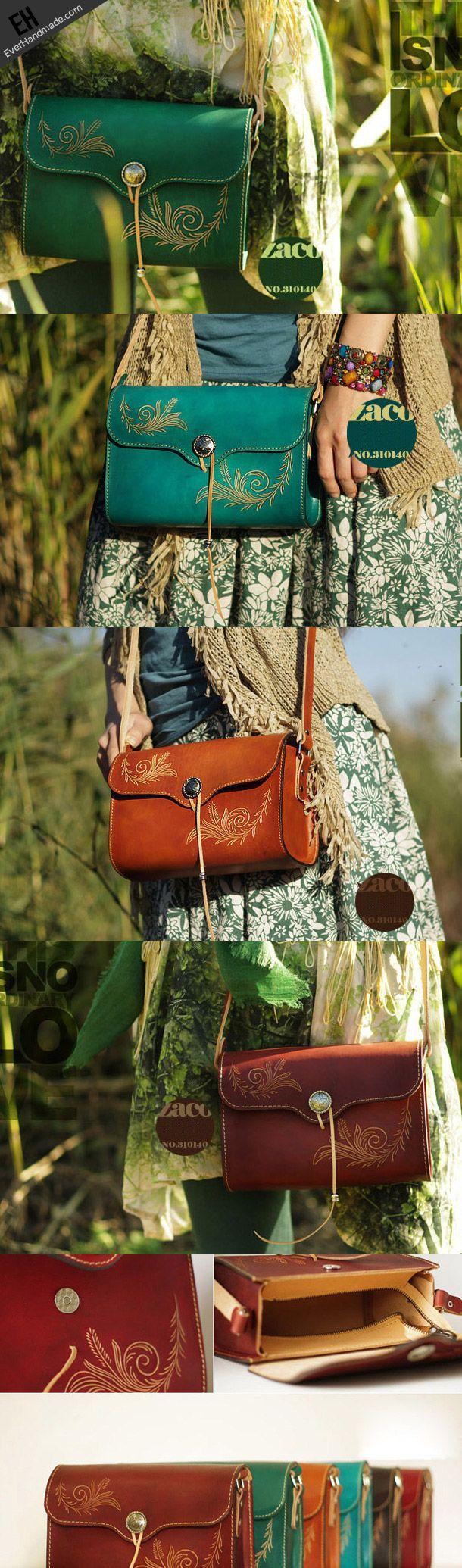 Handcraft retro crossbody leather floral hand dyed shoulder bag /handb | EverHandmade
