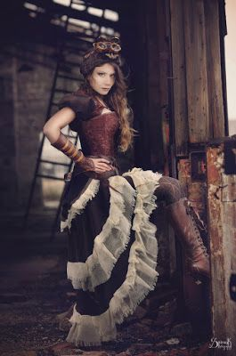 From the Steampunk Fashion Guide to Skirts & Dresses: Tiered Skirts - Steampunk Girl in Tiered White & Brown Skirt
