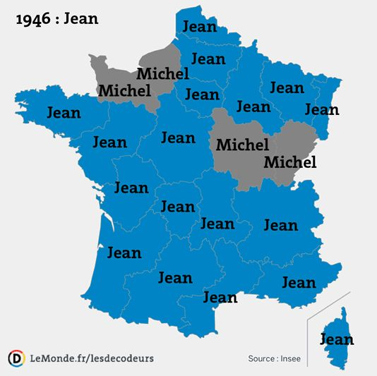 Most popular male baby names in France, by province, 1946–2012.