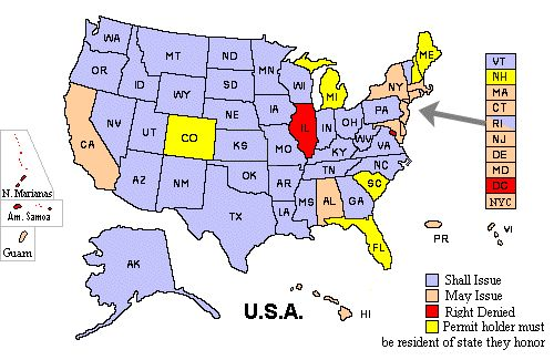 Select the state where you have your CCW, click Build Map and it will show you the reciprocity of your CCW.  Way cool!