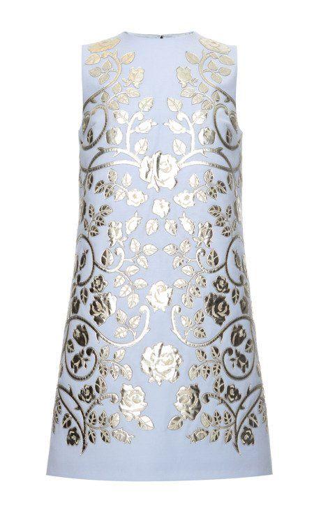 Double Crepe Metallic Leather Applique Shift Dress by Dolce & Gabbana for Preorder on Moda Operandi