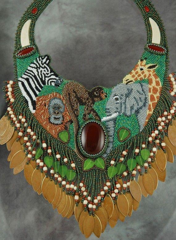 Perlina ricamata Art collettore con elefanti Giraffe di sedonaskye, $900.00