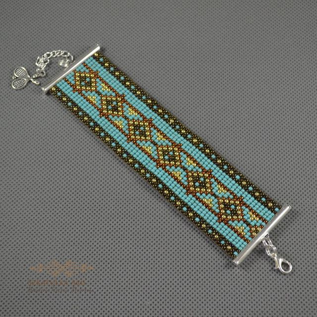Biżuteria artystyczna z małych koralików (beading), tkana na krośnie (loom), metaloplastyka (Miedź).