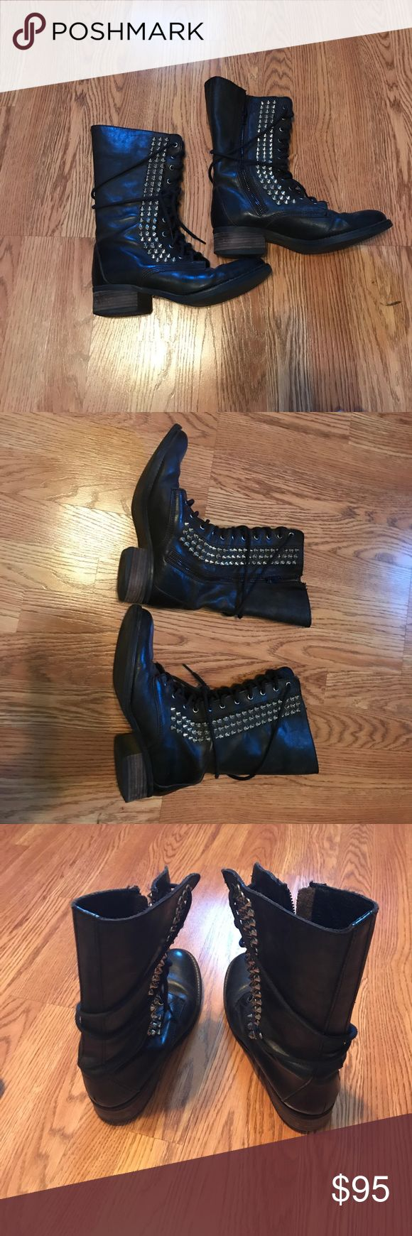 Steve Madden Studded Combat Boots Steve Madden Studded Combat Boots. Black with Silver studs. In excellent condition. Very sturdy, clean and comfortable. Zippers work perfectly. No tips or tears. Steve Madden Shoes Combat & Moto Boots