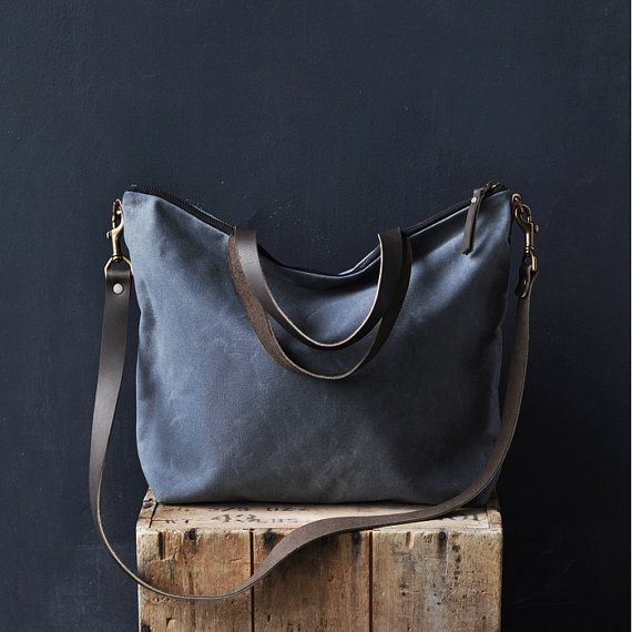 CARRY BAG  charcoal waxed canvas by bookhoudesign on Etsy