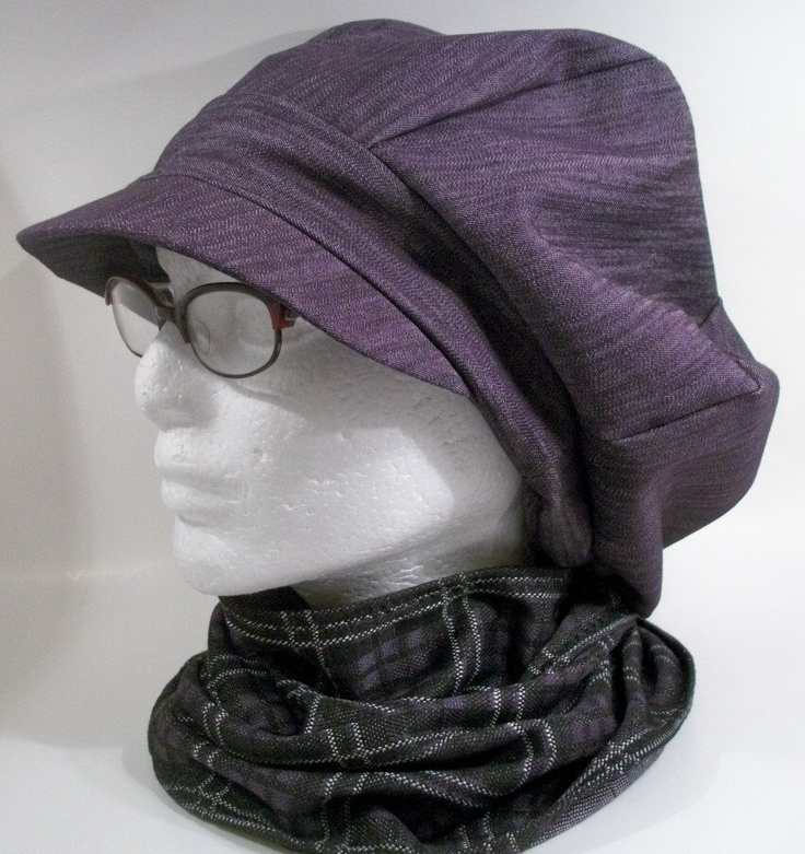 Purple Denim with Attached Knit Plaid Neck Scarf Pageboy Newsboy Tam Hijab Hat