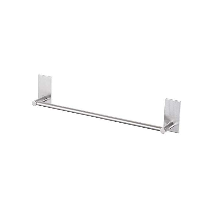 Luckin 12 Inch Towel Bar Self Adhesive Towel Rod Stick On Wall Hand Towel Hanger Brushed Nickel Stainless Steel Single Towel Holder Door No Drill Hanging For Towel Rod Towel
