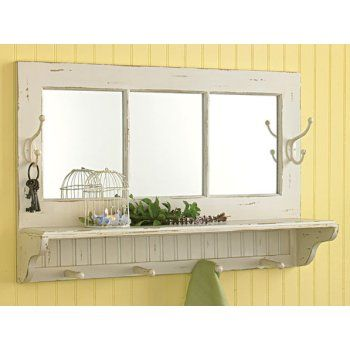 Southport Shelf with Hooks �Escape to the beach with this wall piece that includes shelf, hooks and mirror. Southport shelf with Hooks is a perfect addition to a coastal themed room such as a bathroom, bedroom or special beachy place.    16