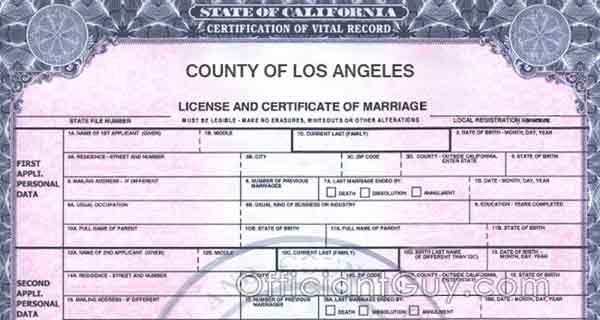 How to get a copy of your marriage certificate or license in California, specifically Los Angeles county. Confidential marriage license copy information.