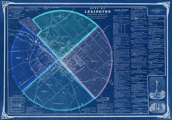 ⚓ Very rare historical map of Lexington, Kentucky, originally engraved in 1861. Includes two drawings and an extensive list of local businesses. ⚓ Available in original beige colors, in restored white, or inverted to a stylish blue version. ⚓ The smaller print size will fit perfectly into standard sized IKEA frames of 19.75x27.5, while the larger one is made for standard US movie poster frame of 27x40. ⚓ Carefully restored from a HR scan of 5,200 x 7,300 pixels. Highest quality ARCHIVAL…