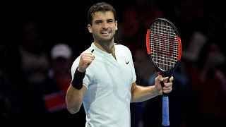 """TENNIS GRAND SLAM : ATP FINALS , LONDRA : DIMITROV E' IN SEMIFINALE , THIEM E GOFFIN SPERANO ANCORA Il bulgaro Grigor Dimitrov approda alle semifinali delle ATP Finals in corso di svolgimento alla O2 Arena di Londra, in Gran Bretagna. Il bulgaro ha battuto, nel gruppo """"Sampras"""", per 6-0 6-2... #tennis #grandslam #dimitrov #atpfinals"""