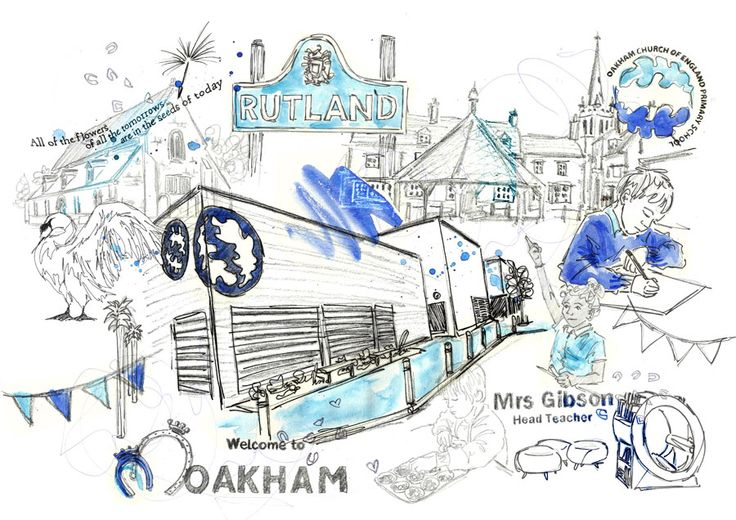 A collage style illustration commission for a retiring head teacher of a school in Rutland #design #art #ruthjoyceart