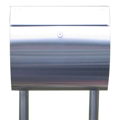 European Home | Stainless Steel Modern, Contemporary Curb Appeal Mailbox and Mailbox Stand | Residential Mailbox