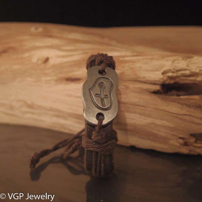 Hart Armband Sleutel: leren armband bruin
