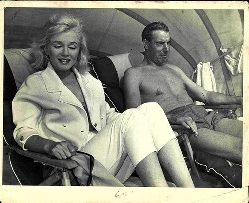 Marilyn and Joe DiMaggio photographed together on their holiday to Florida, 1961