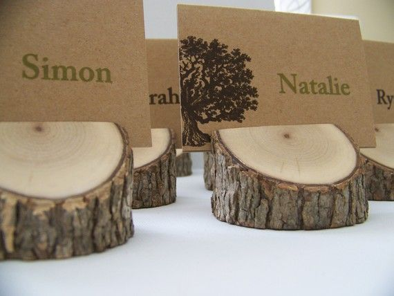 Beautiful Rustic Real-Wood Place Card Holders - Set of 4 | Rustic Wedding Theme | Photo Holders, Rustic and Tree Slices