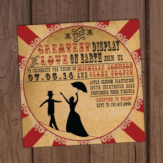 Vintage Circus Wedding Invitation van AuroraGraphicStudio op Etsy