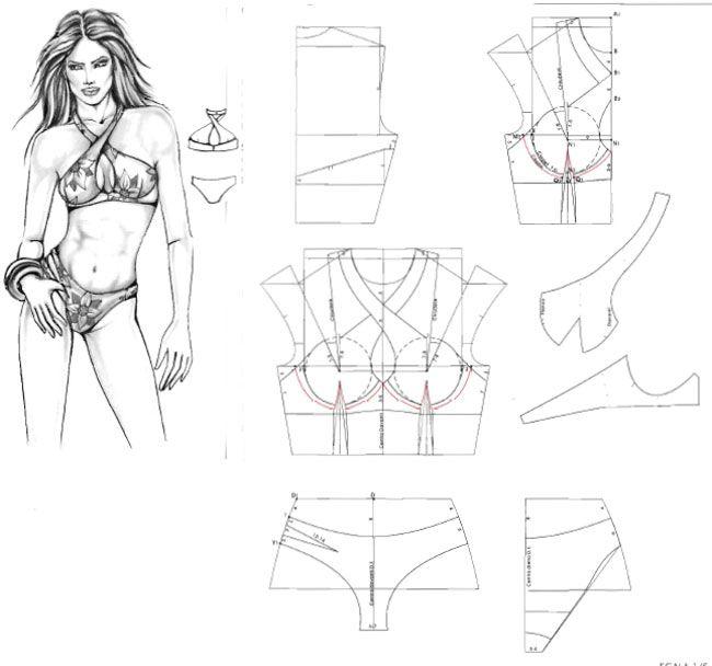 3 Pattern swimsuit. Выкройка купальника.